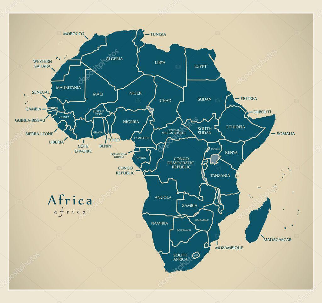 Karte Afrika.Moderne Karte Afrika Kontinent Mit Land Etiketten