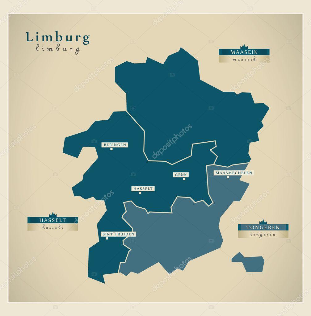 Moderne Landkarte Limburg Be Stock Vector C Ingomenhard 128668004