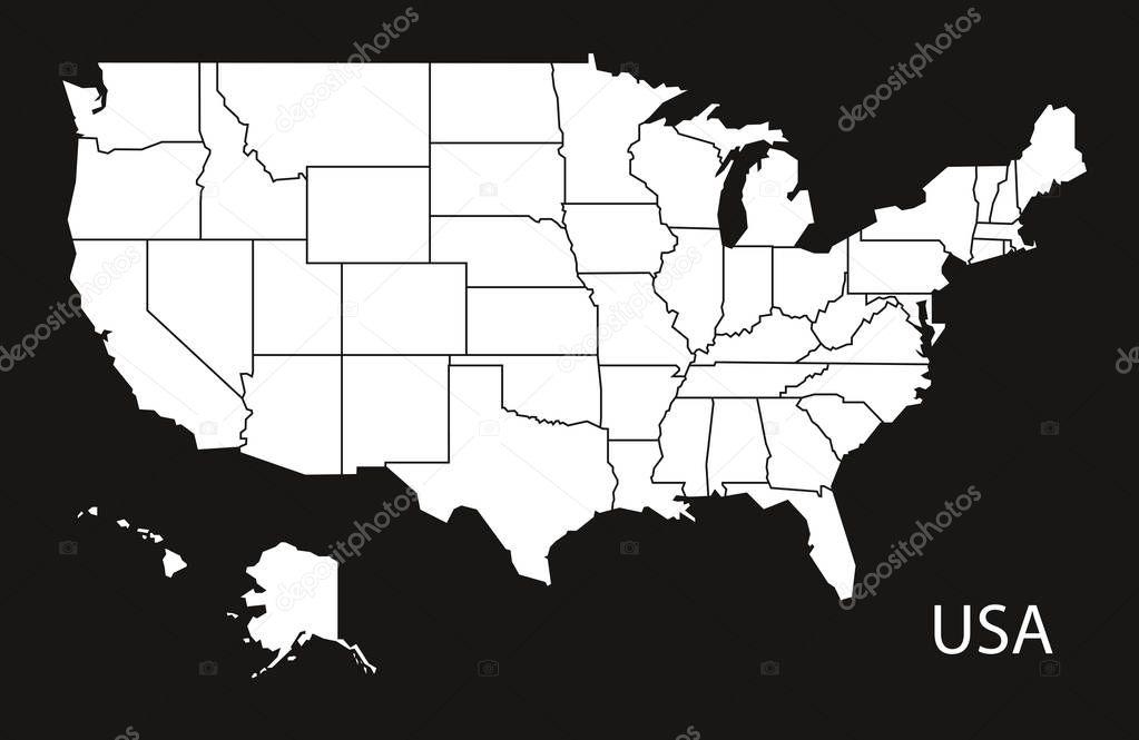 Bundesstaaten Usa Karte.Usa Karte Mit Bundes Staaten Schwarz Weiß Stockvektor