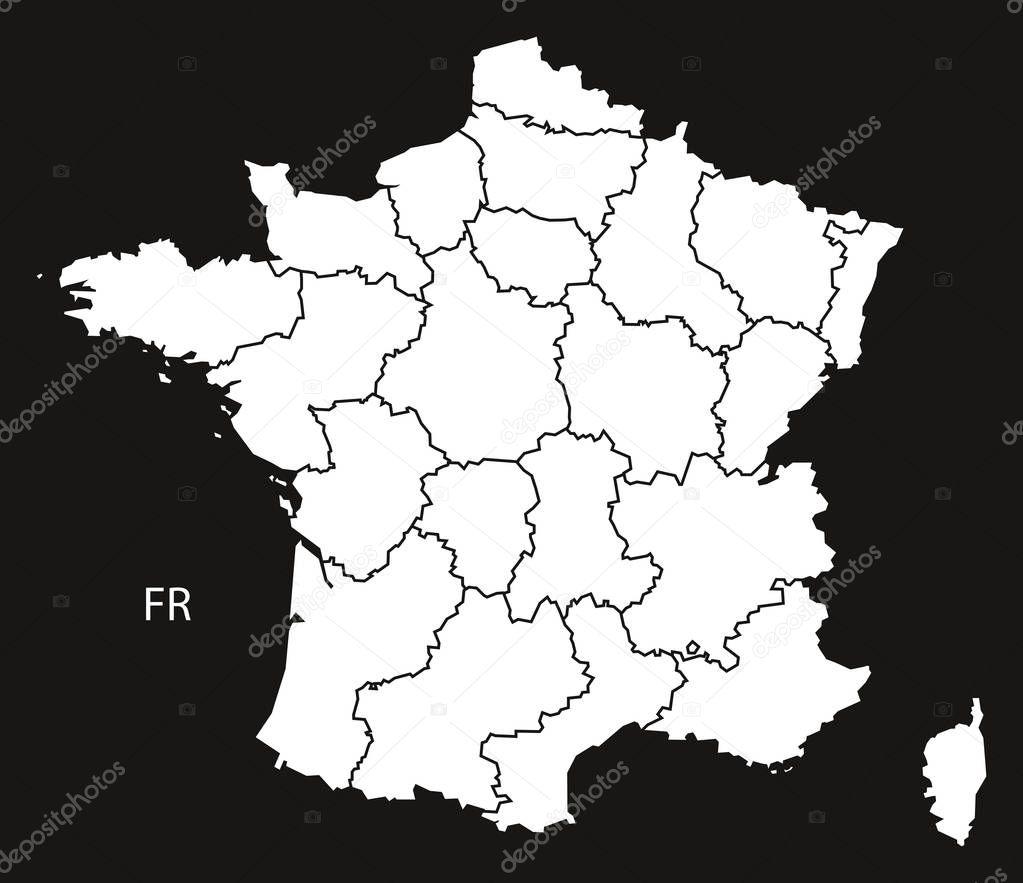 Frankreich Karte Regionen.Frankreich Karte Mit Regionen Schwarz Weiß Stockvektor