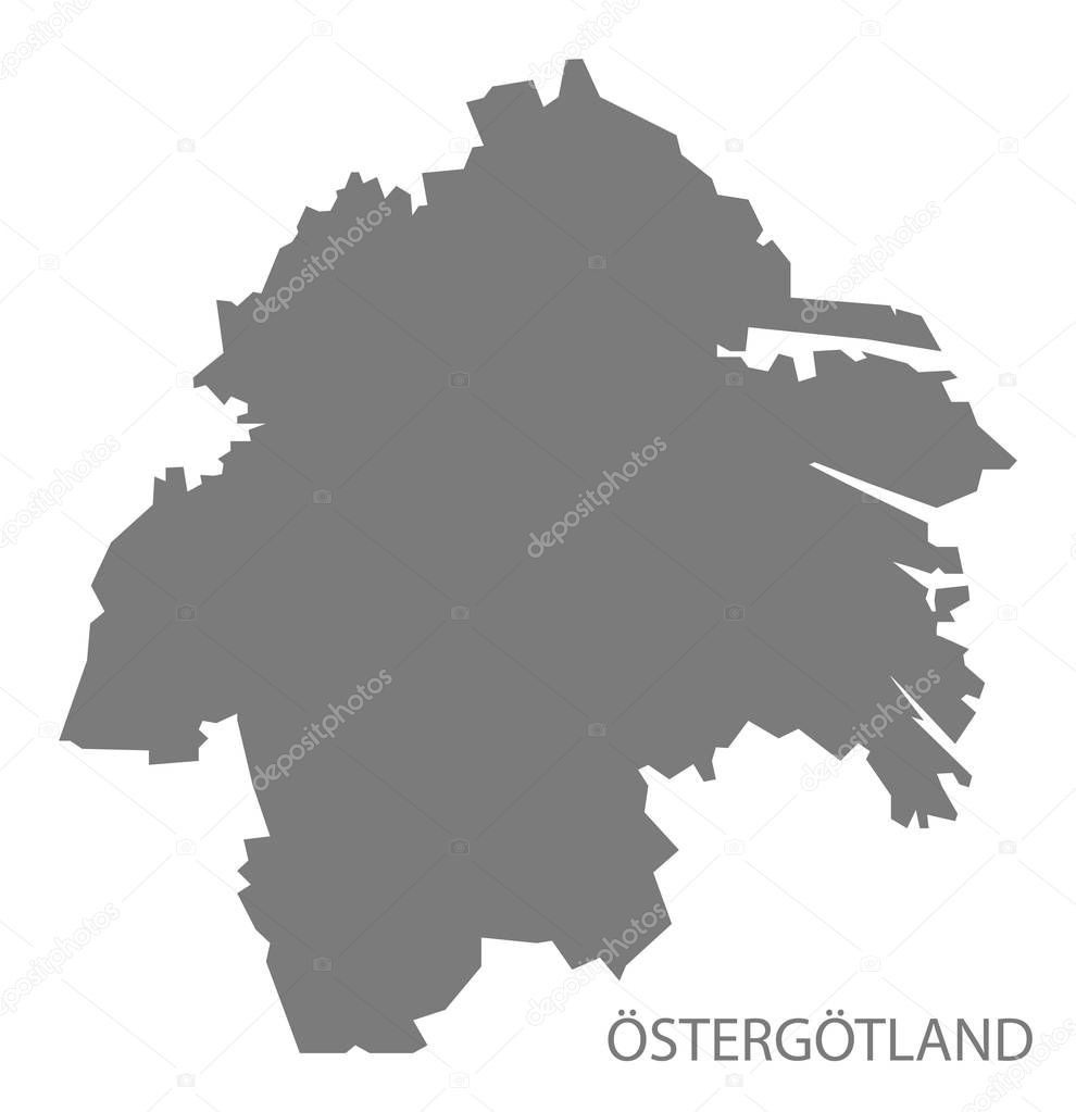 östergötland karta Östergötland Sverige karta grå — Stock Vektor © ingomenhard #129646920 östergötland karta