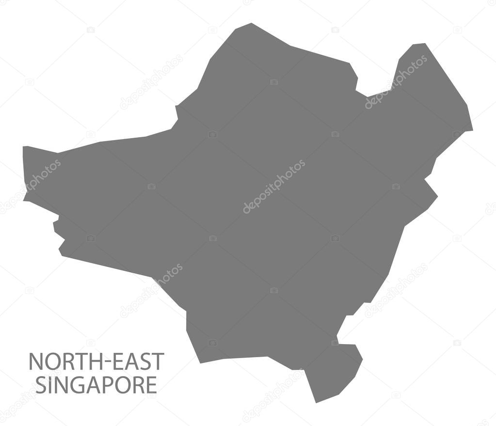 NorthEast Singapore Map Grey Stock Vector Ingomenhard - Singapore map vector