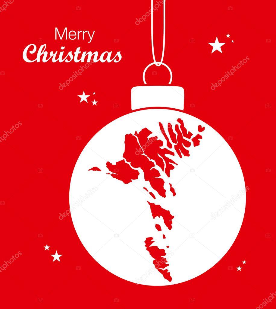Färöer Inseln Karte.Frohe Weihnachten Karte Färöer Inseln Stockvektor Ingomenhard