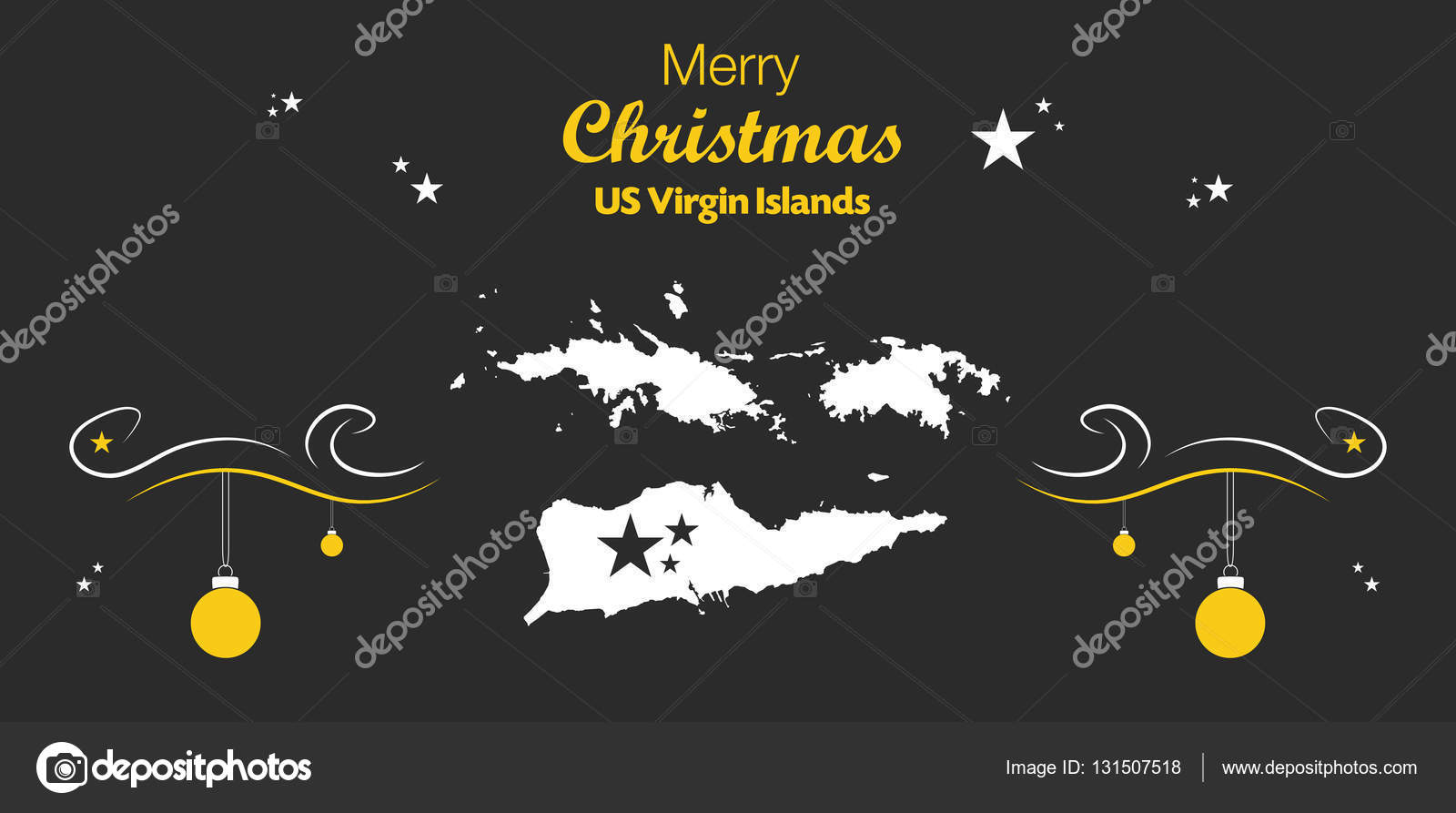 Merry Christmas theme with map of US Virgin Islands — Stock Vector ...