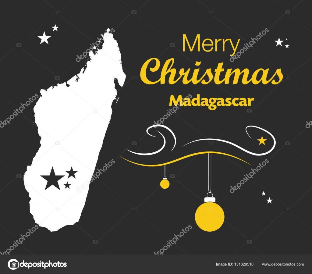 Buon Natale Madagascar.Buon Natale A Tema Con Mappa Del Madagascar Vettoriali Stock