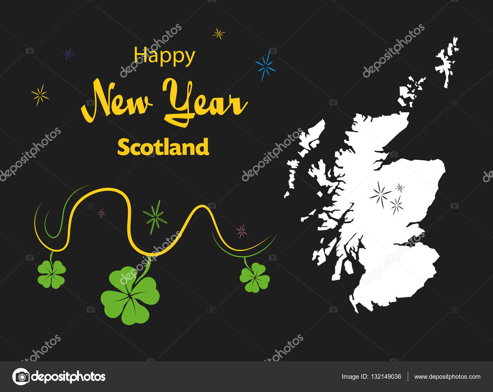 happy new year theme with map of scotland stock vector
