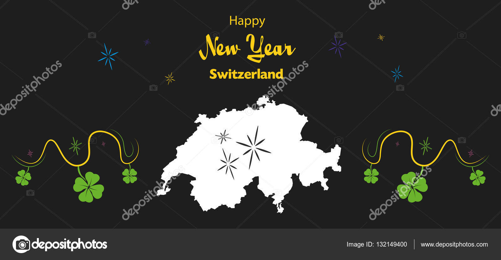 happy new year theme with map of switzerland stock vector