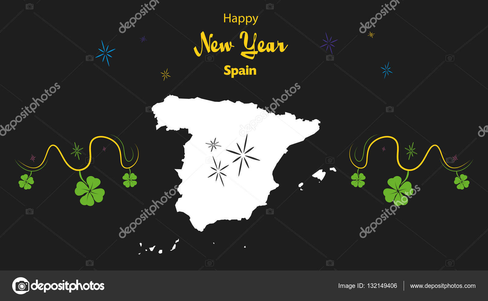 happy new year theme with map of spain stock vector