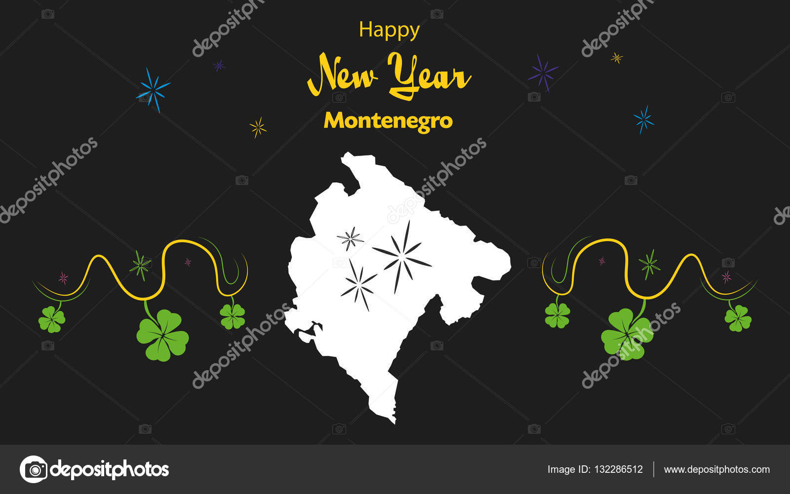 happy new year theme with map of montenegro stock vector