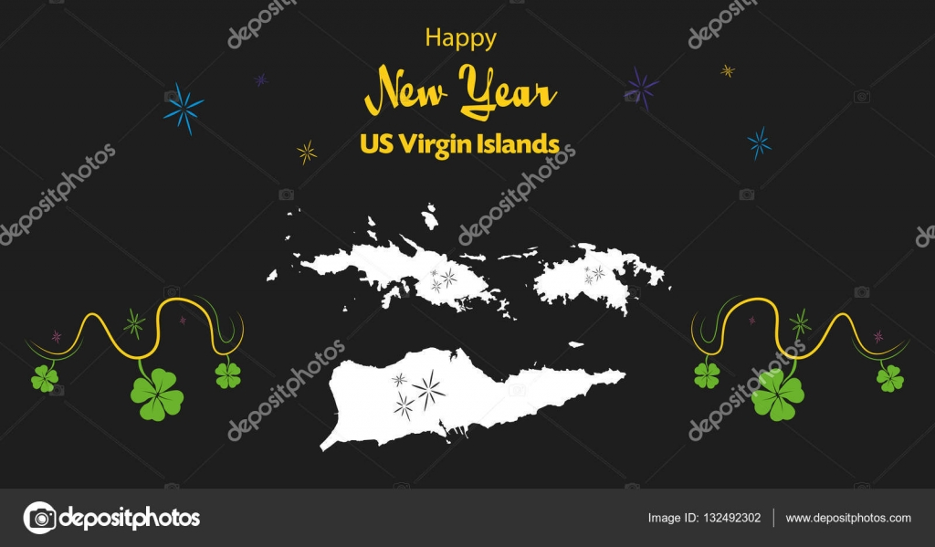 happy new year theme with map of us virgin islands stock vector