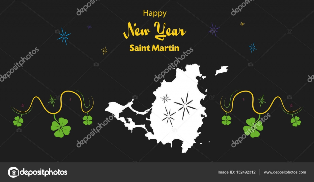 happy new year theme with map of saint martin stock vector