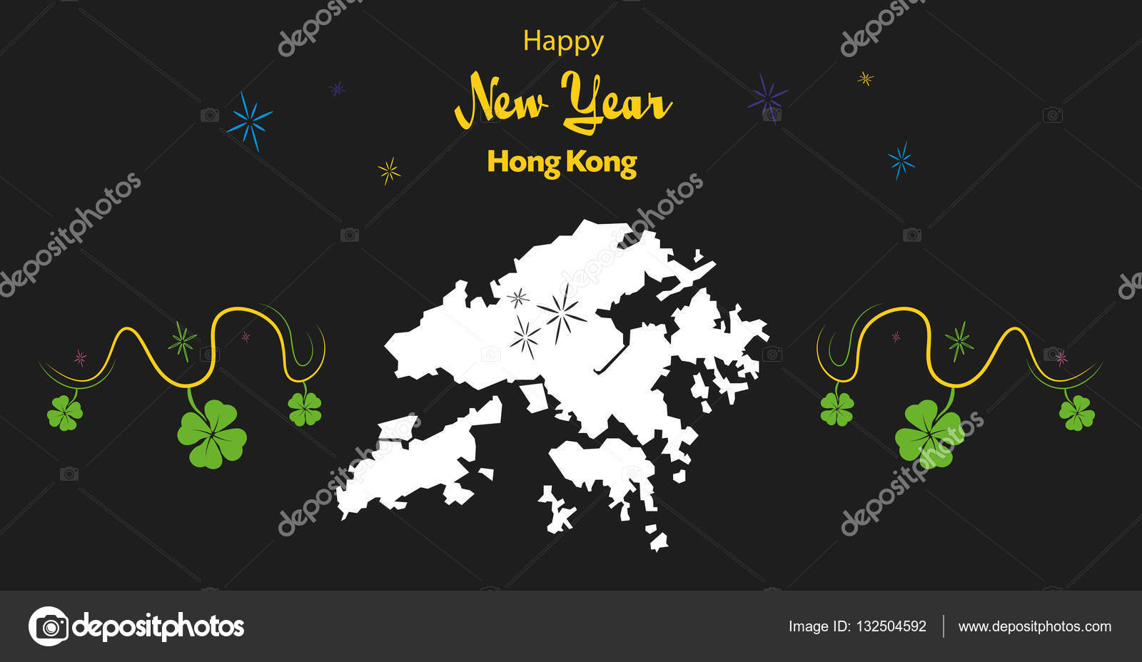 happy new year theme with map of hong kong stock vector