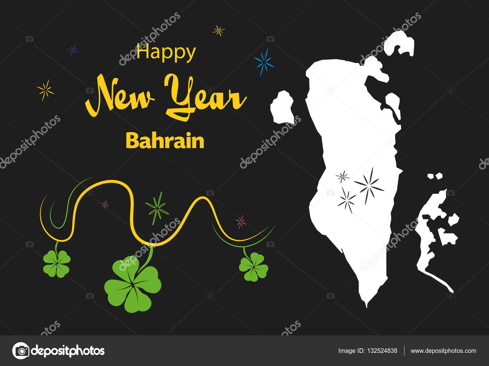 happy new year theme with map of bahrain stock vector