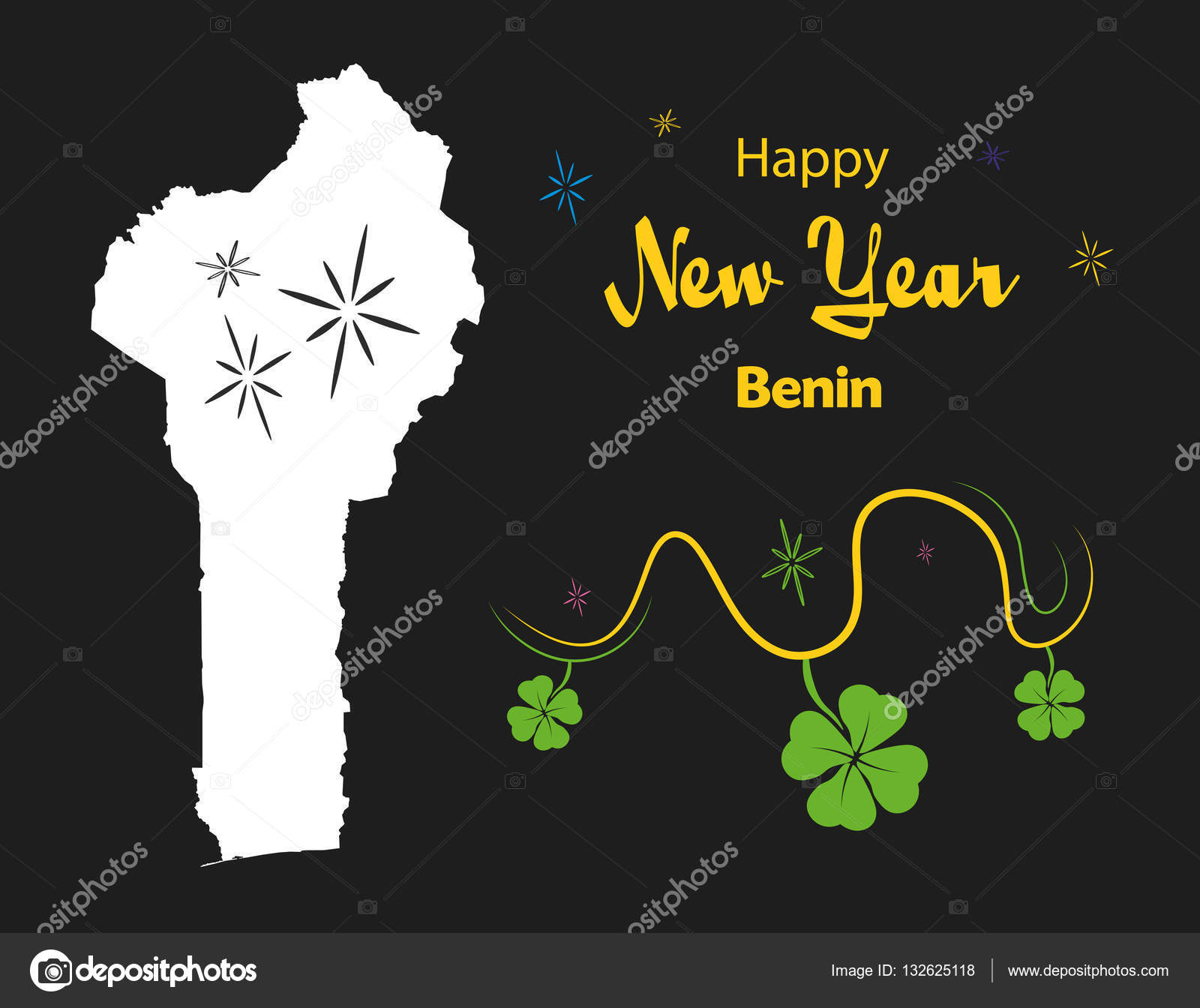 happy new year theme with map of benin stock vector