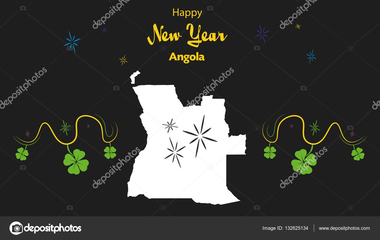happy new year theme with map of angola stock vector