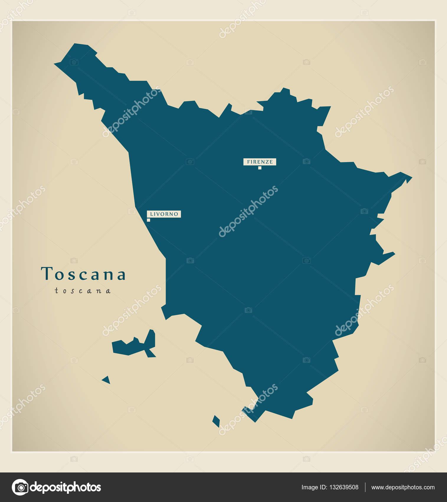 La Toscana Italia Mapa.Mapa Moderno It Toscana Italia Vector De Stock