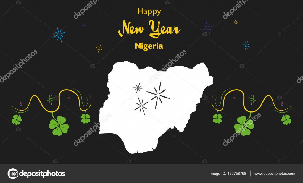 happy new year theme with map of nigeria stock vector