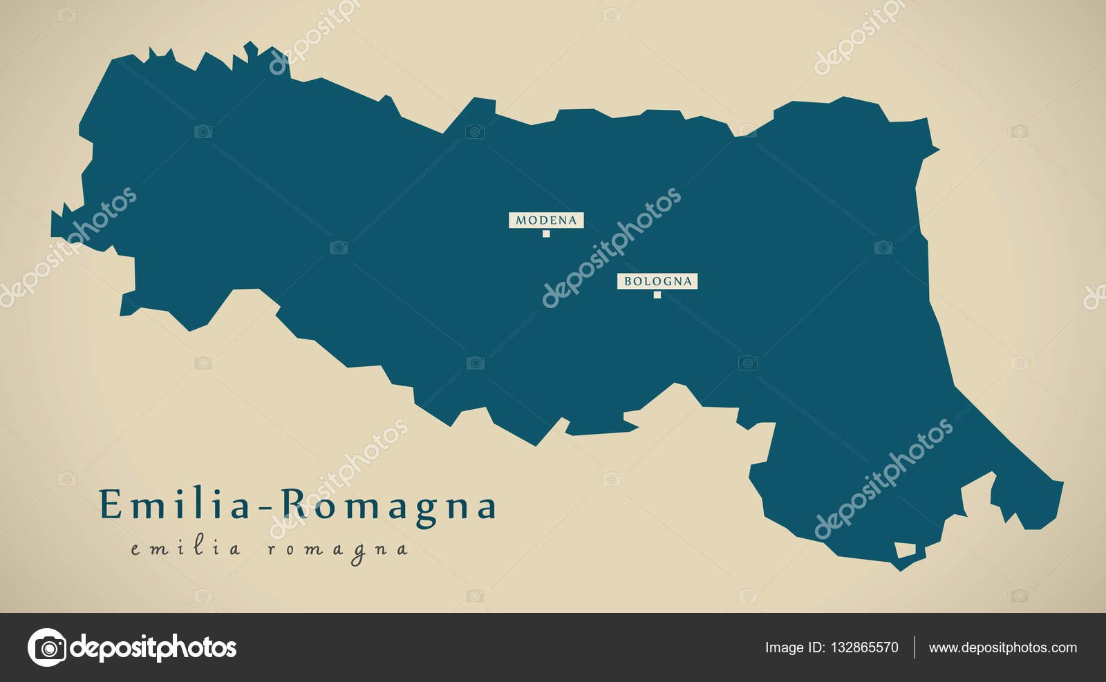 Carte Italie Emilia Romagna.Carte Moderne Emilia Romagna On Italie Photographie