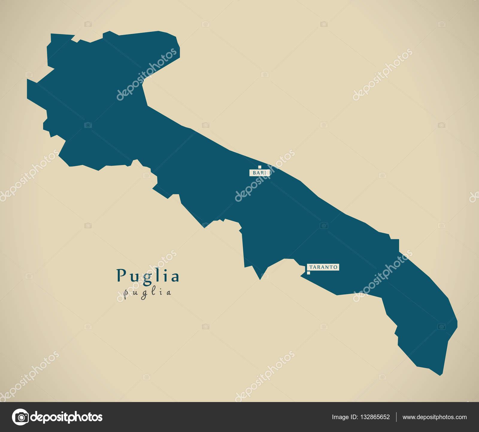 Modern Map Puglia It Italy Stock Photo C Ingomenhard 132865652