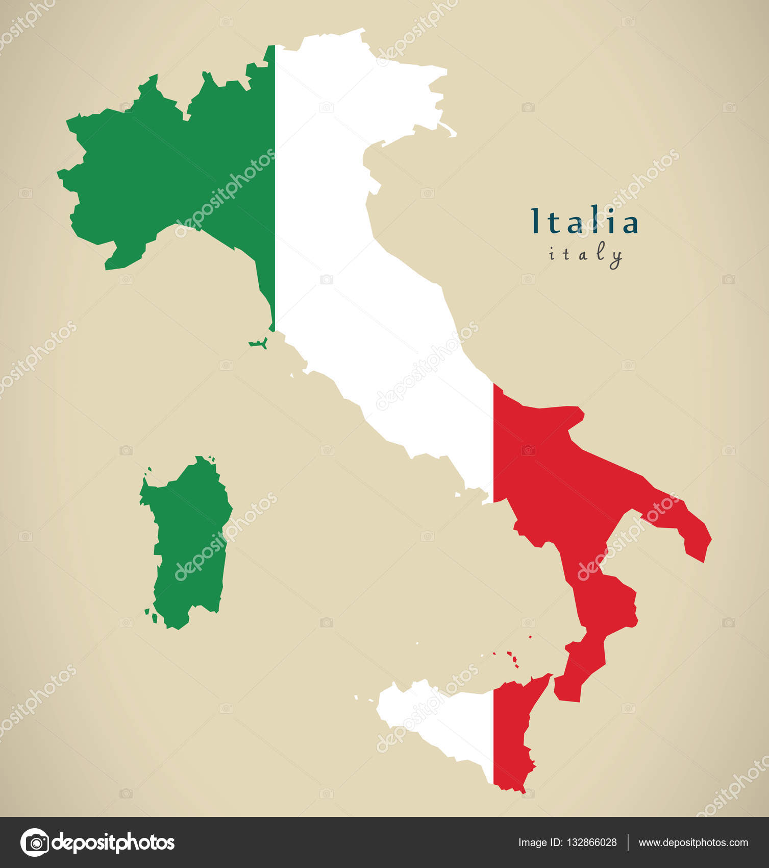 Modern Map Of Italy.Modern Map Italy With Flag Colours It Stock Photo C Ingomenhard