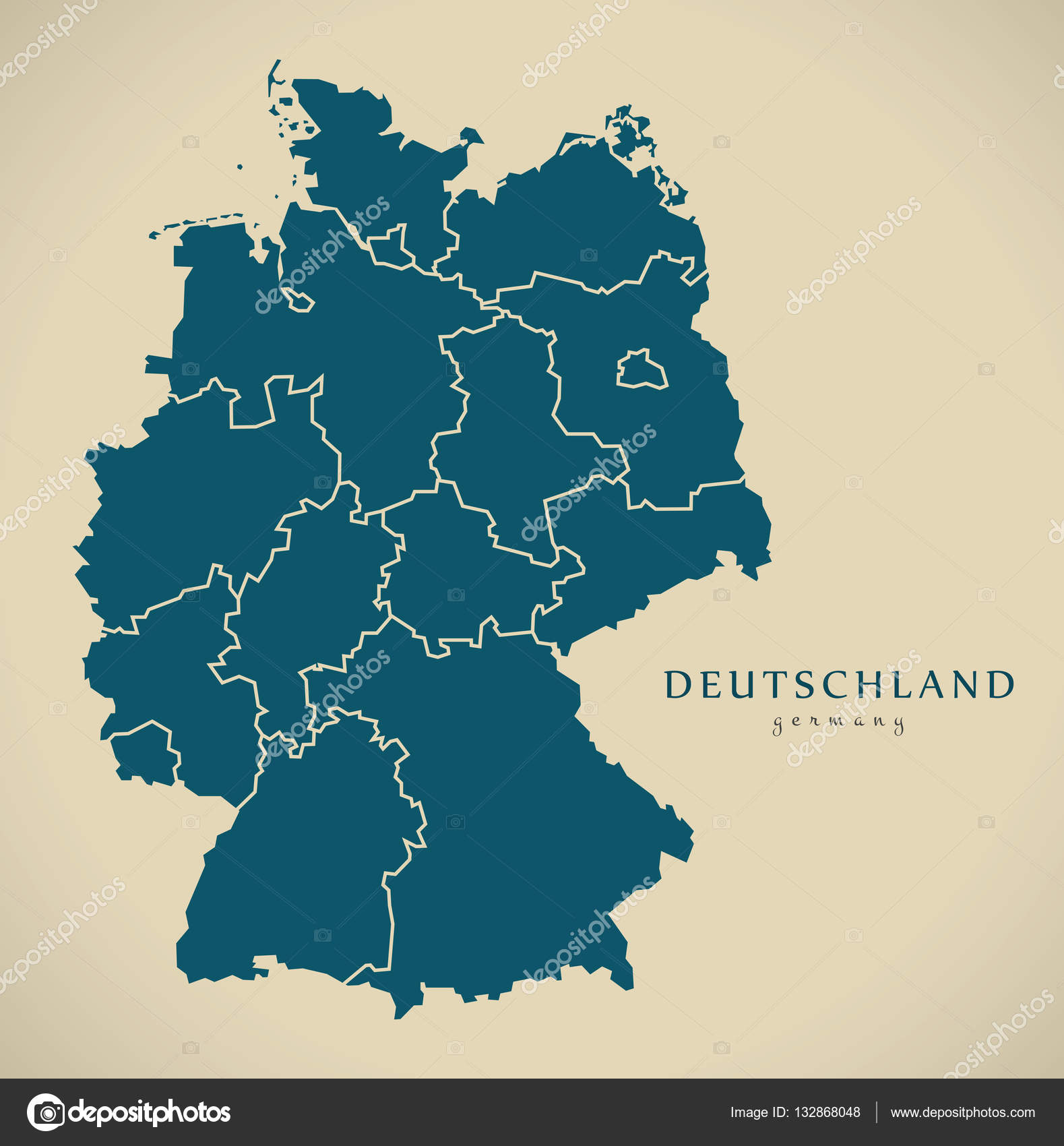 Map Of Germany With States.Modern Map Germany With Federal States De Stock Photo