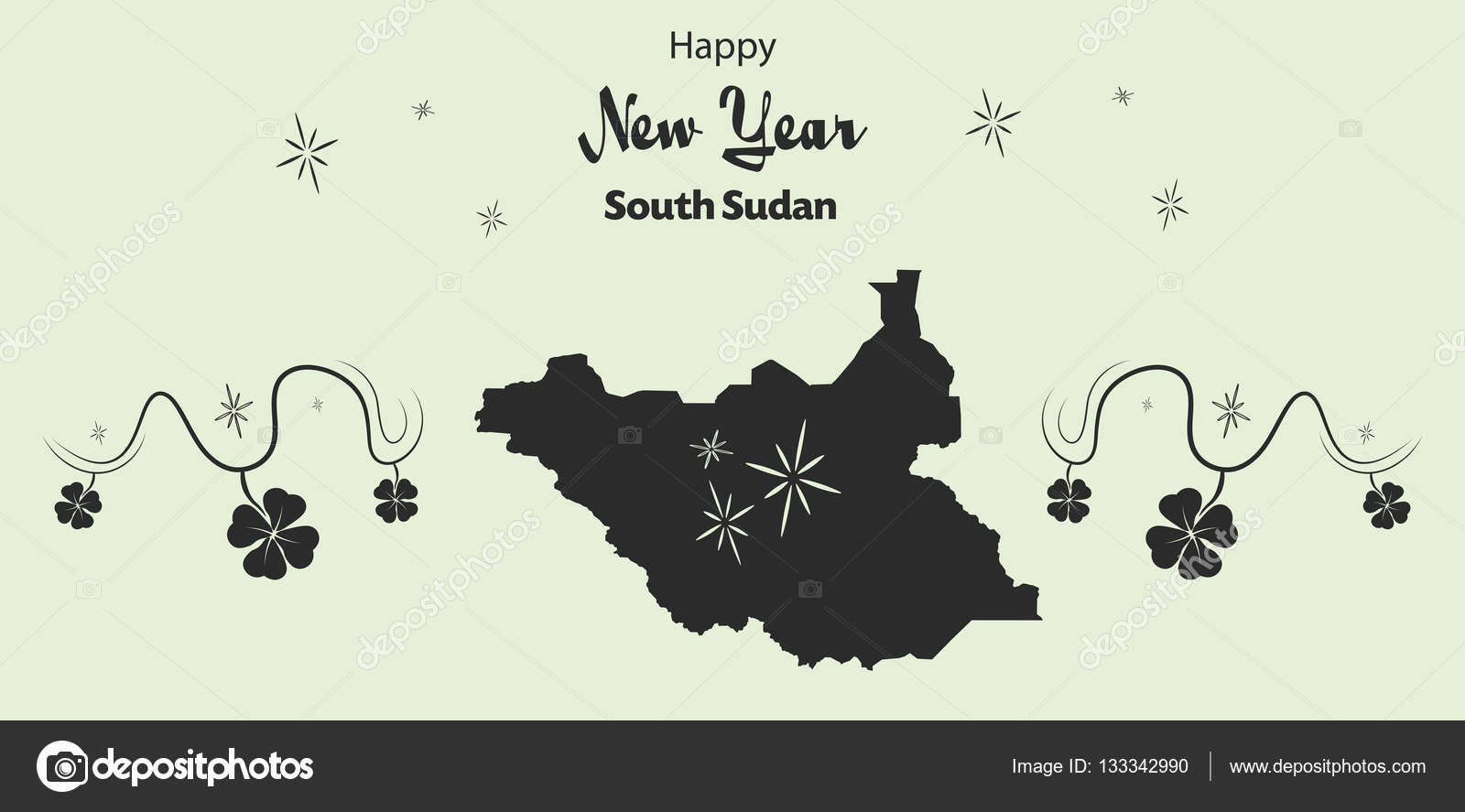 happy new year theme with map of south sudan stock vector