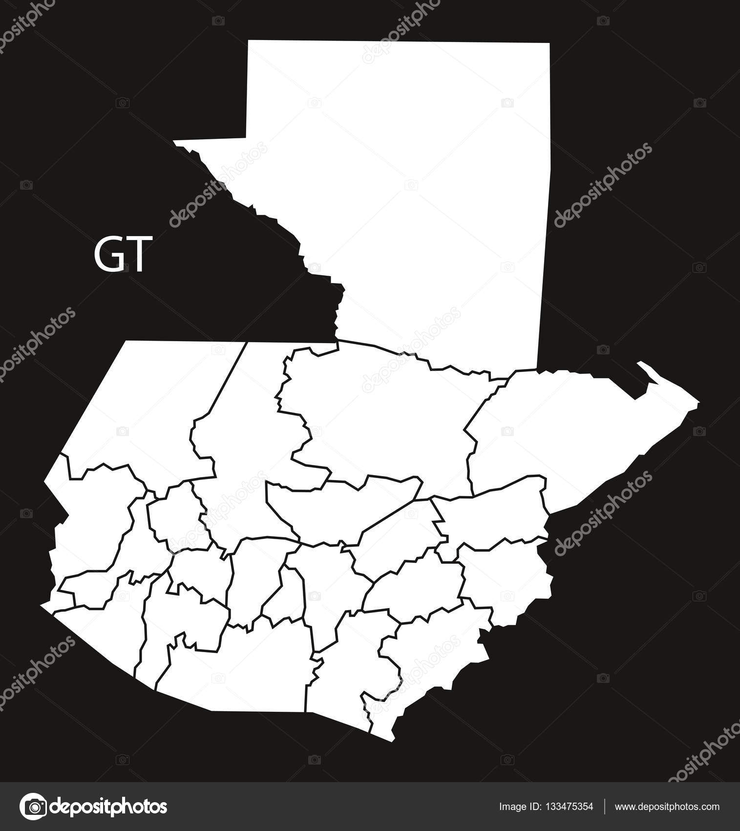 Guatemala Departments Map Black Country Stock Vector - Departments map of guatemala