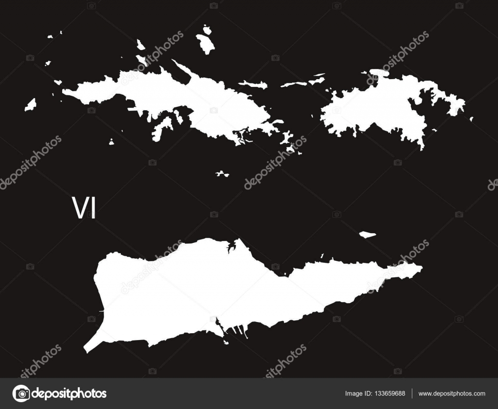 US Virgin Islands Map black and white — Stock Vector © ingomenhard ...