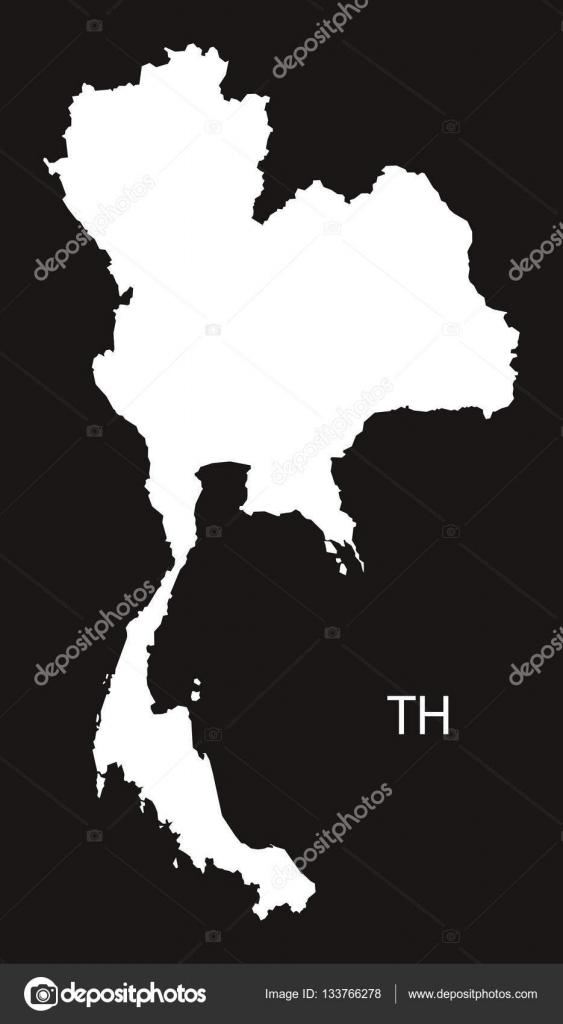 Carte Thailande Noir Et Blanc.La Thailande Carte Noir Et Blanc Image Vectorielle