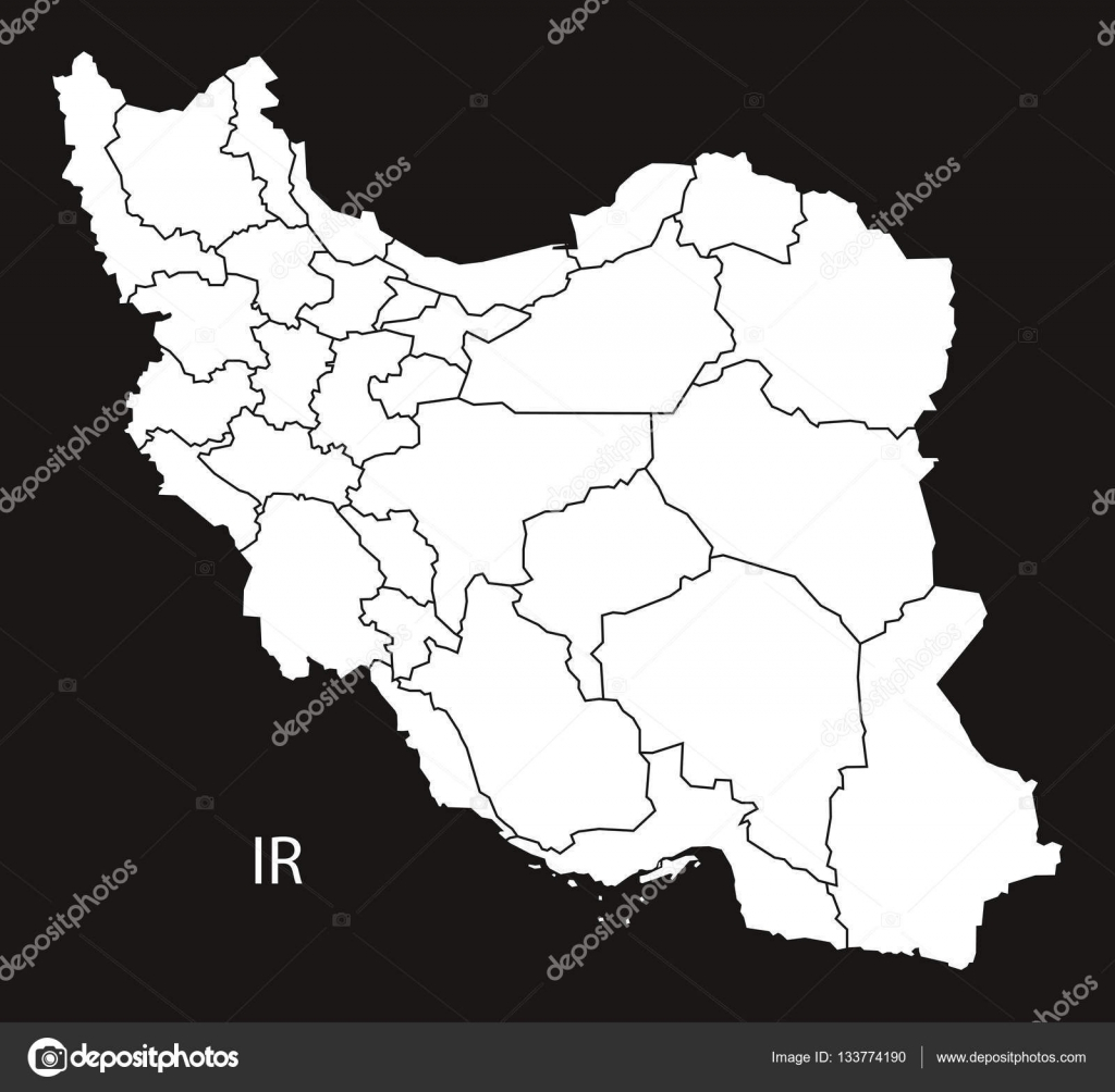 iran provinces map black and white stock vector