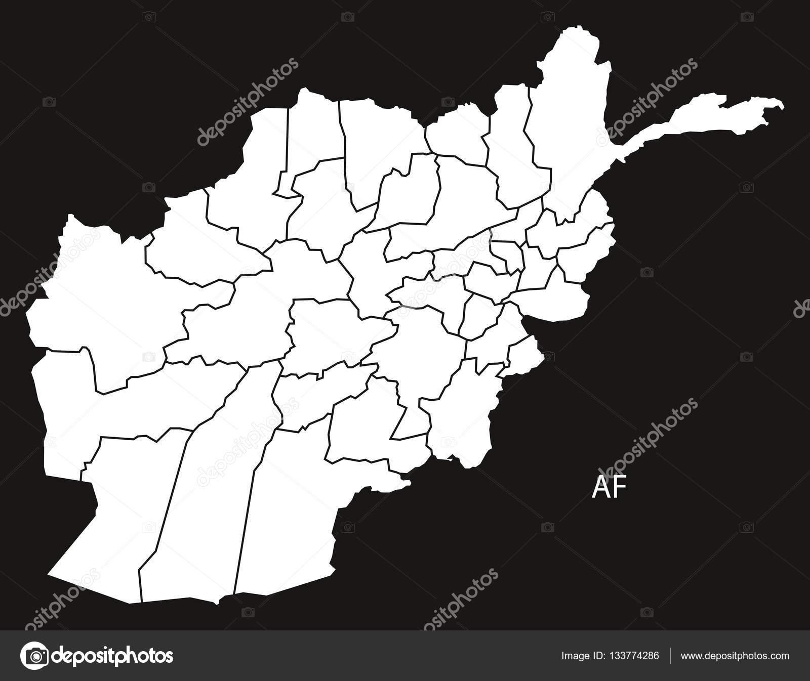Karte Afghanistan Provinzen.Afghanistan Provinzen Karte Schwarz Weiss Stockvektor