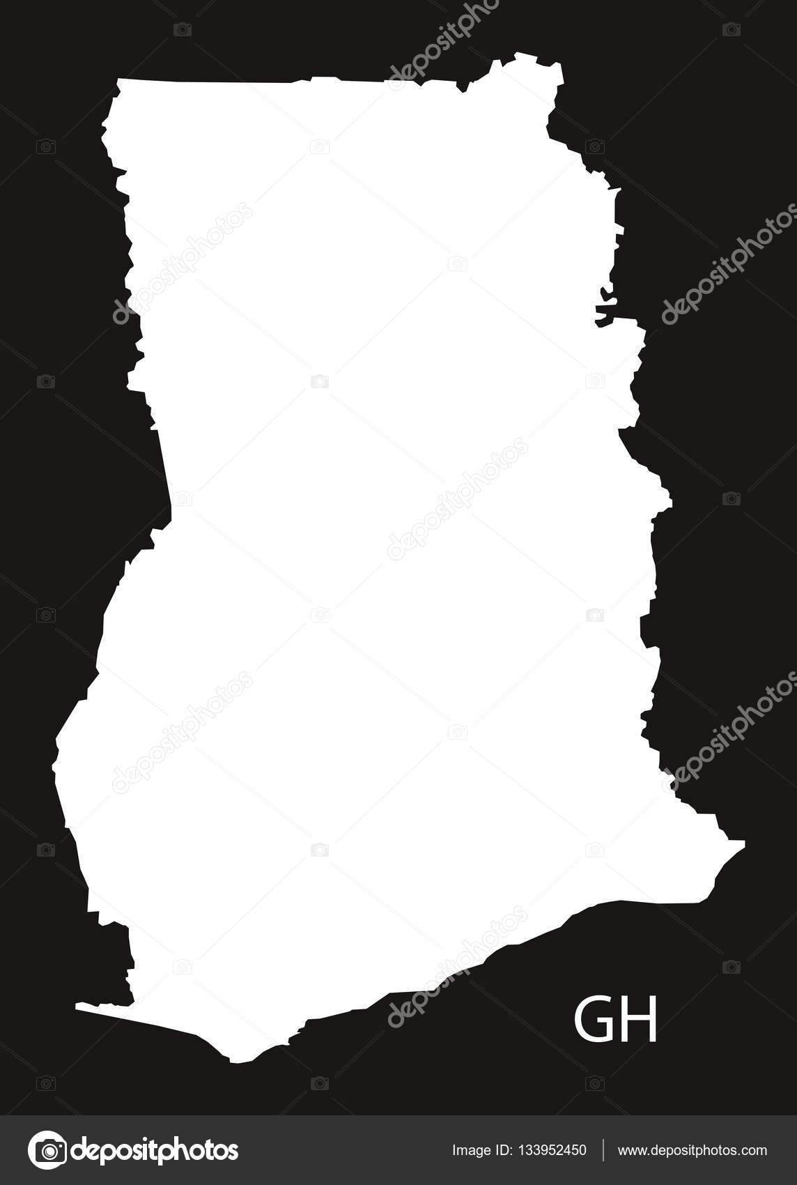 Ghana Karte.Ghana Karte Schwarz Weiss Stockvektor C Ingomenhard
