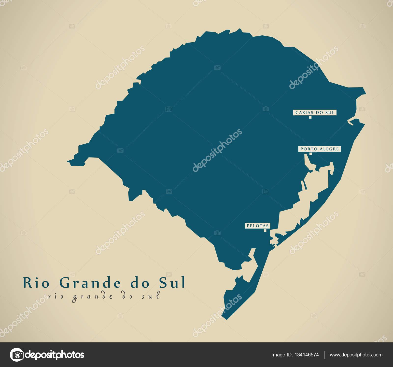 Modern Map - Rio Grande do Sul BR Brazil — Stockfoto © ingomenhard ...