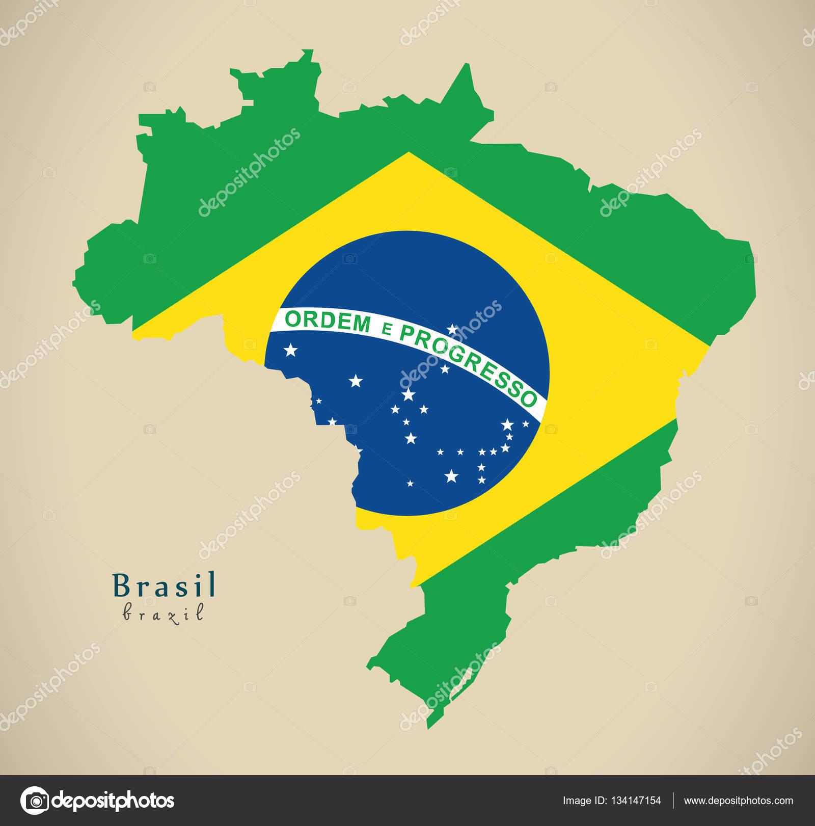 modern map brasil coloured br brazil \u2014 stock photo © ingomenhardmodern map brasil coloured br brazil \u2014 stock photo