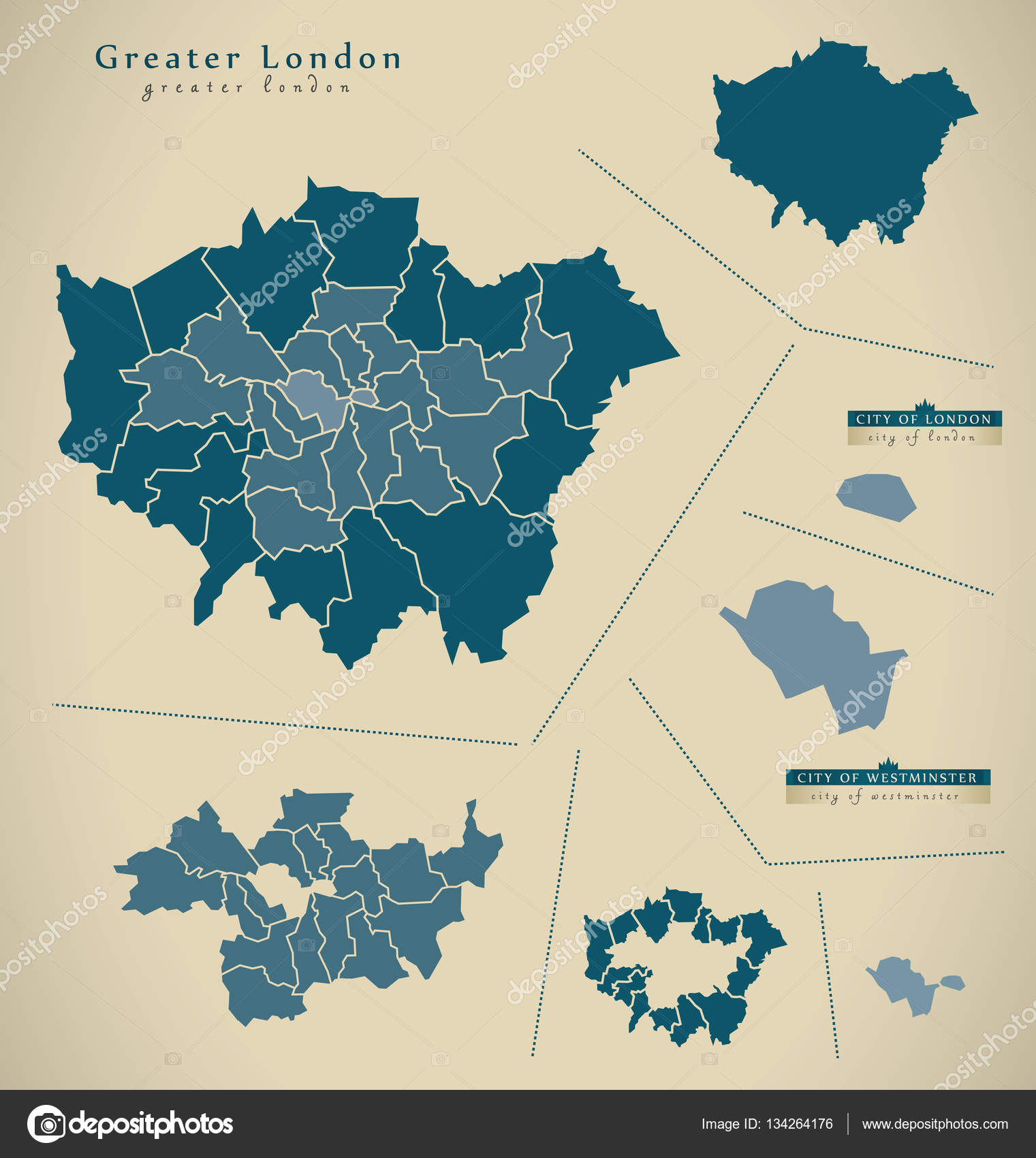 modern map greater london uk england stock photo