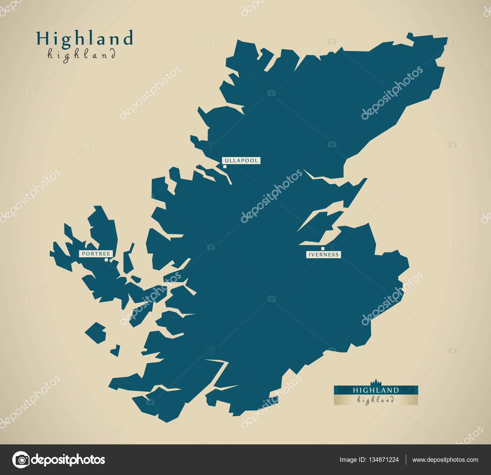 Schottland Karte Highlands.Moderne Karte Highland Uk Schottland Stockfoto Ingomenhard