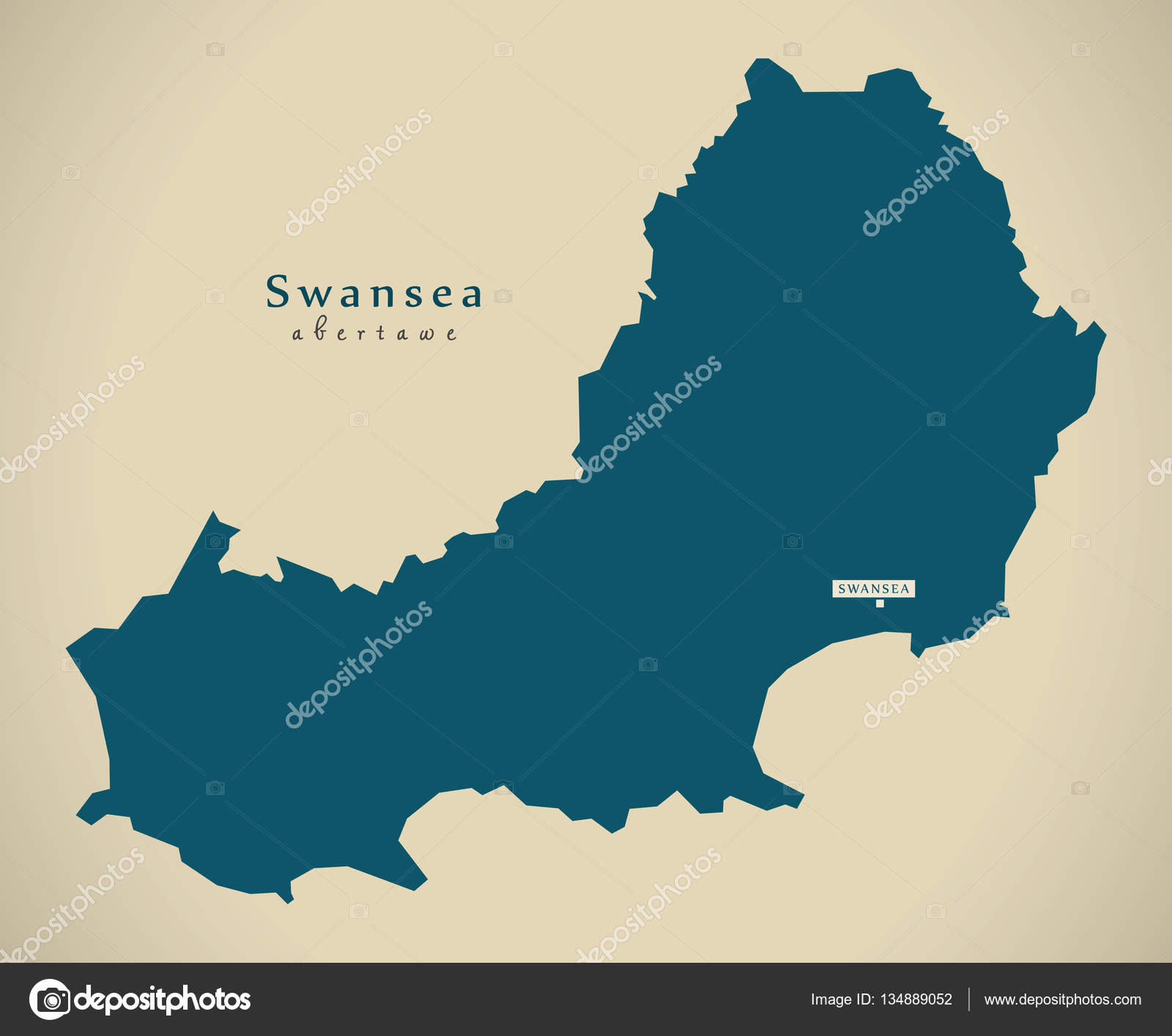 Modern Map Swansea Wales UK Stock Photo ingomenhard 134889052
