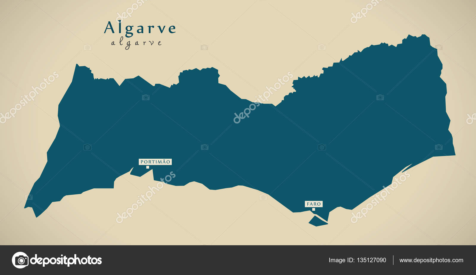 Portugal Algarve Karta.Moderna Karta Algarve Portugal Pt Stockfotografi C Ingomenhard