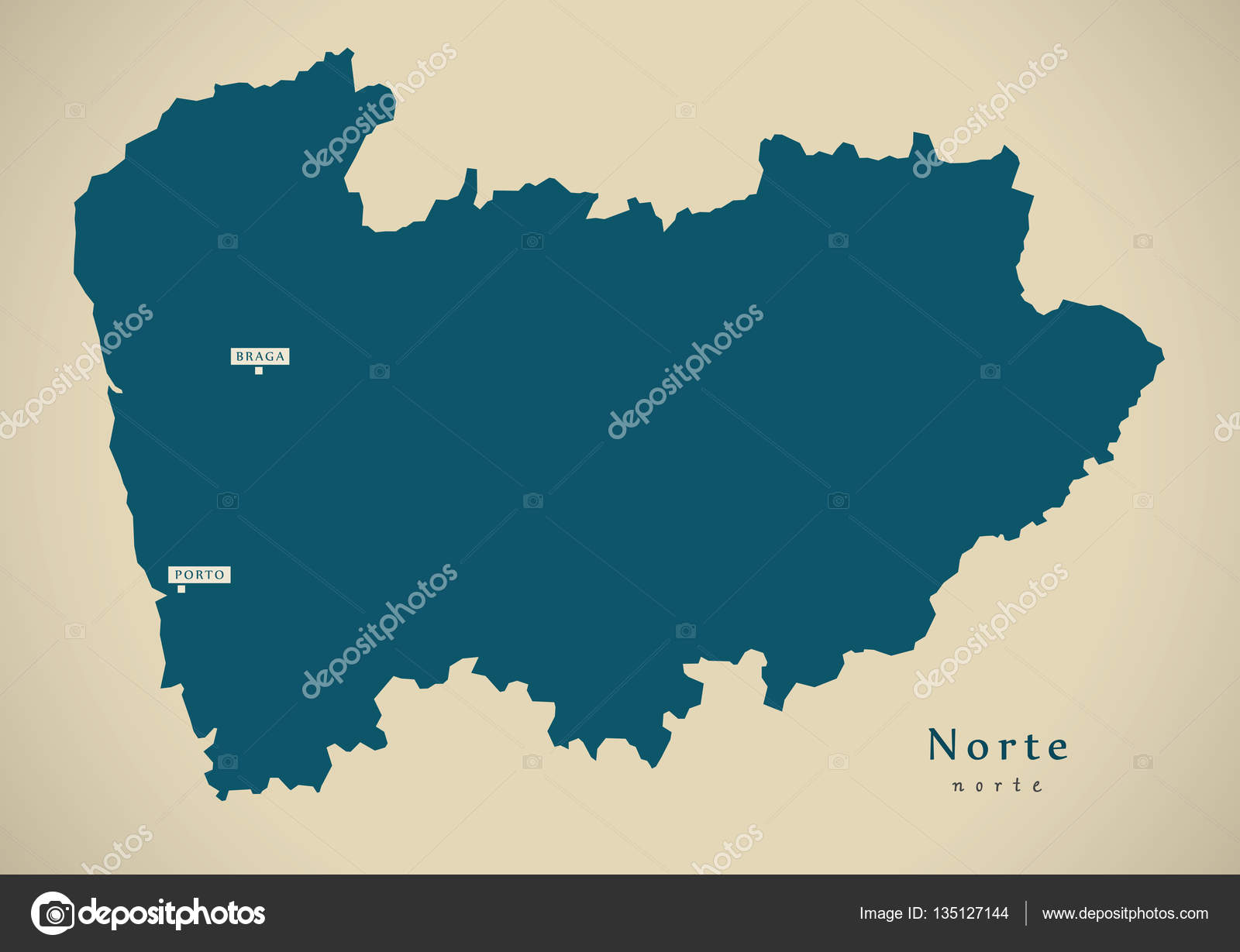 Norte De Portugal Mapa.Moderno Mapa Norte Portugal Pt Stock Photo C Ingomenhard