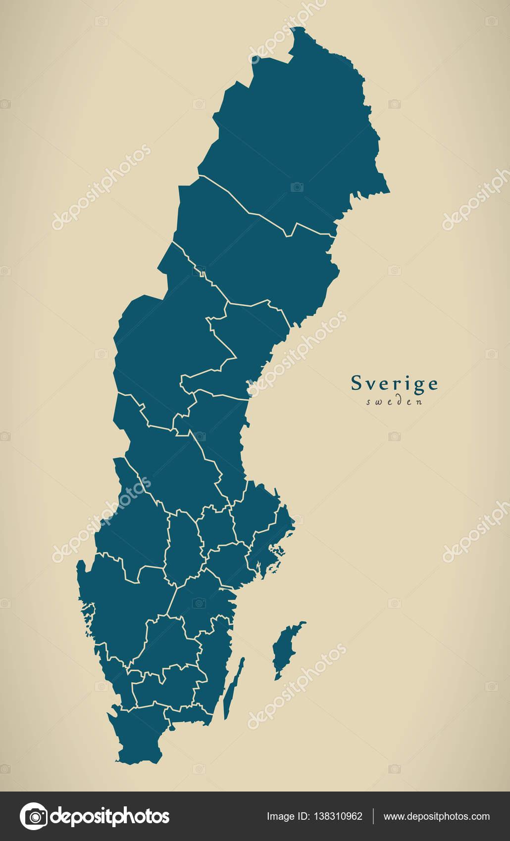 Schweden Karte Regionen.Moderne Karte Schweden Mit Regionen Se Stockfoto