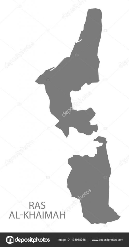 Ras Al Khaimah United Arab Emirates Map Grey Stock Vector