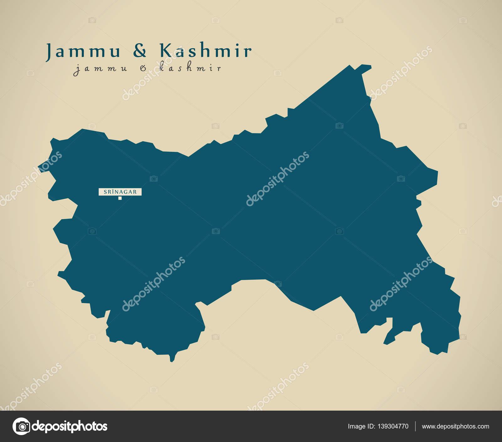 Modern Map - Jammu and Kashmir IN India federal state illustrati ...