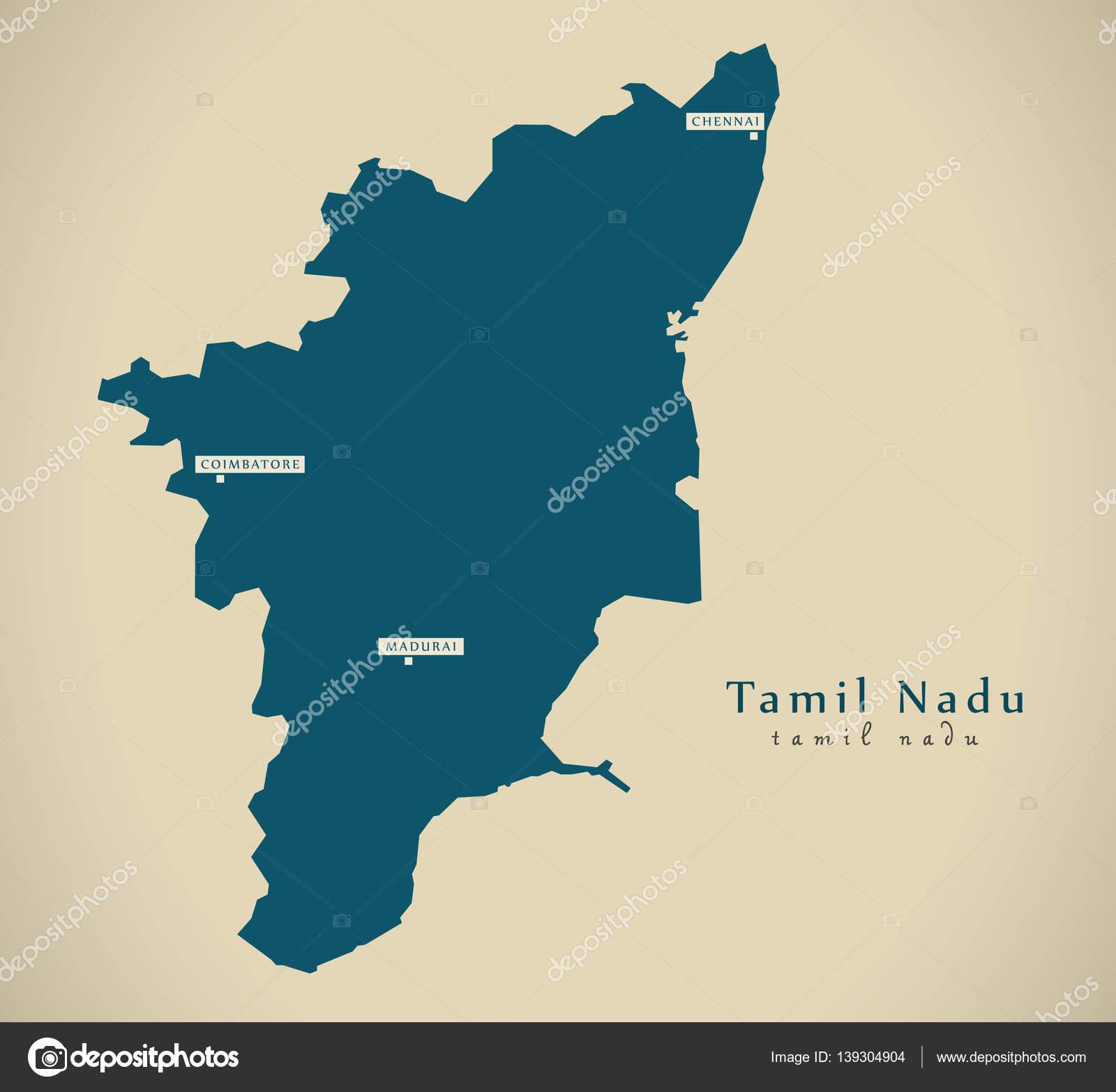 Mapa moderno ilustracin del estado federal de tamil nadu en la mapa moderno ilustracin del estado federal de tamil nadu en la india fotos de gumiabroncs Images