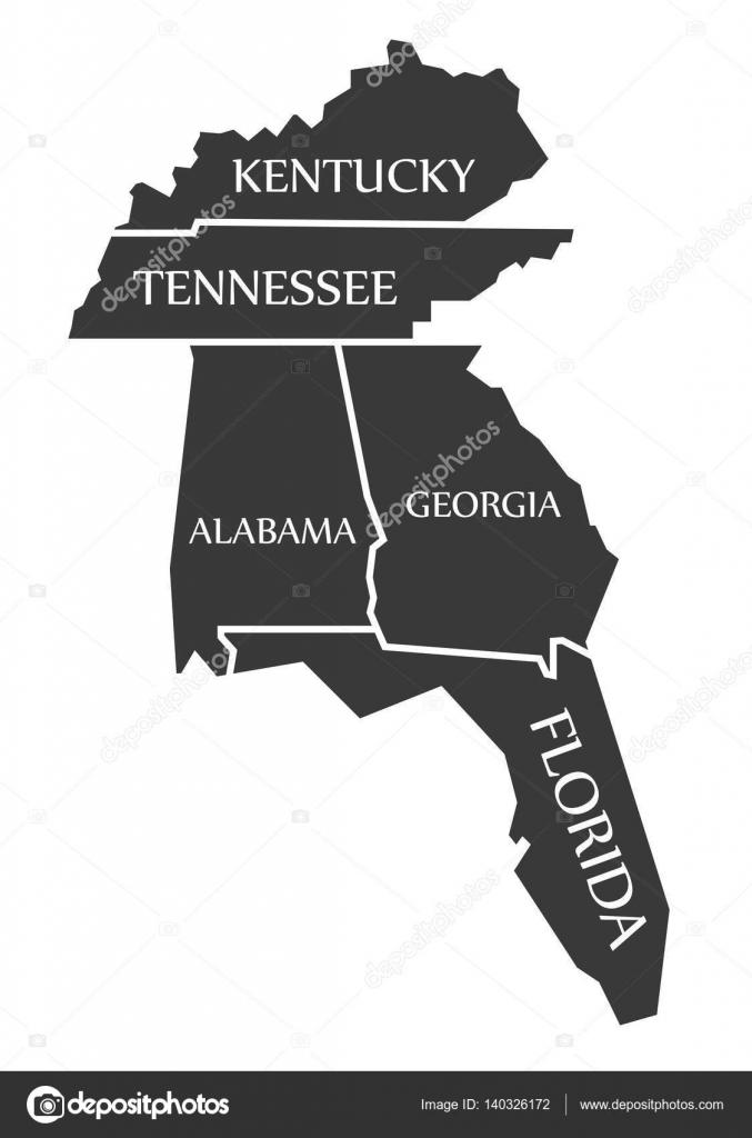 Georgia Florida Map.Kentucky Tennessee Alabama Georgia Florida Map Labelled