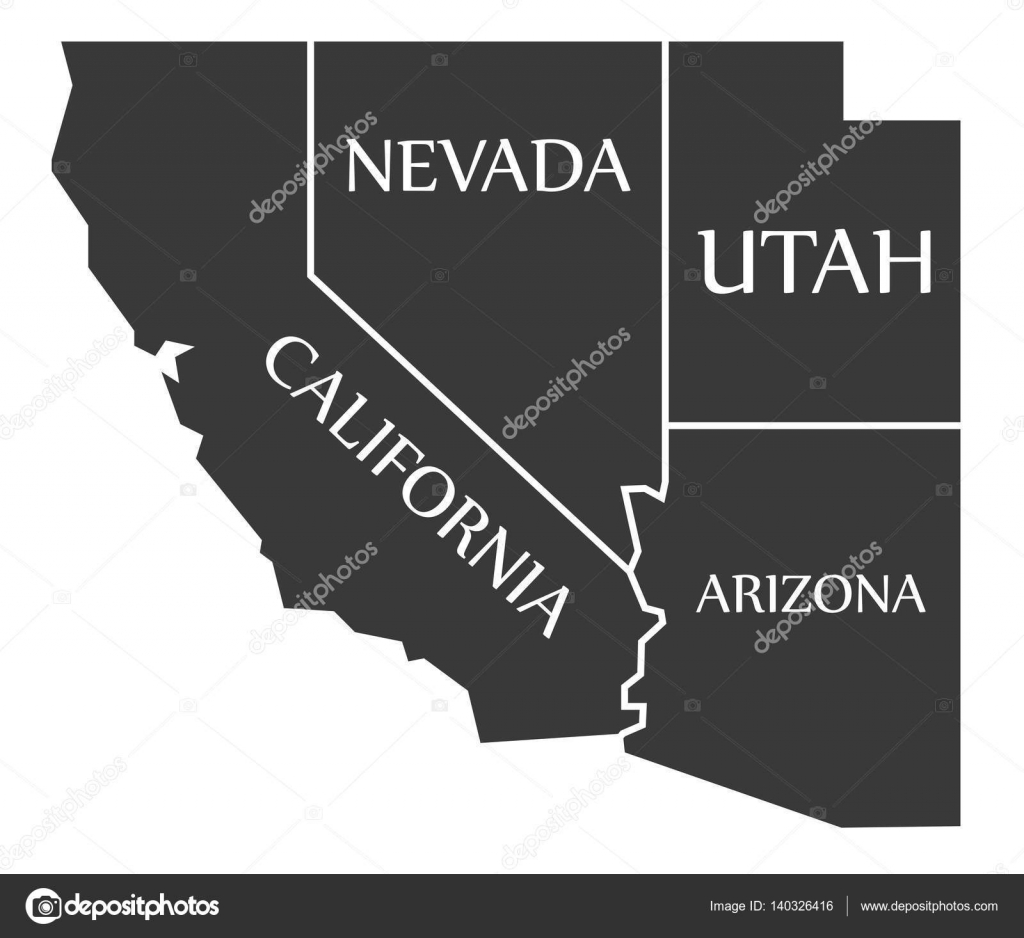 California - Nevada - Utah - Arizona Map labelled black — Stock ...