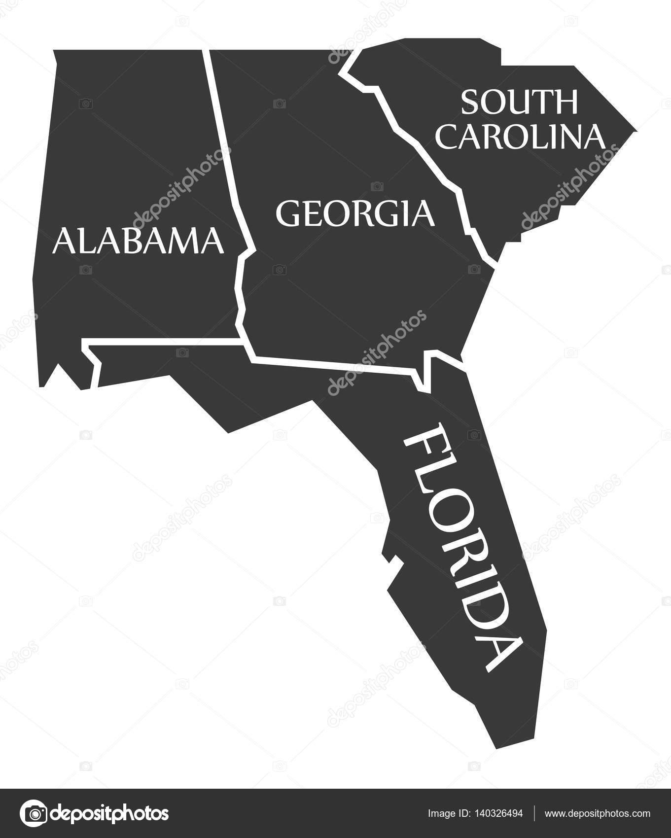 Alabama - Georgia - South Carolina - Florida Map labelled black ...
