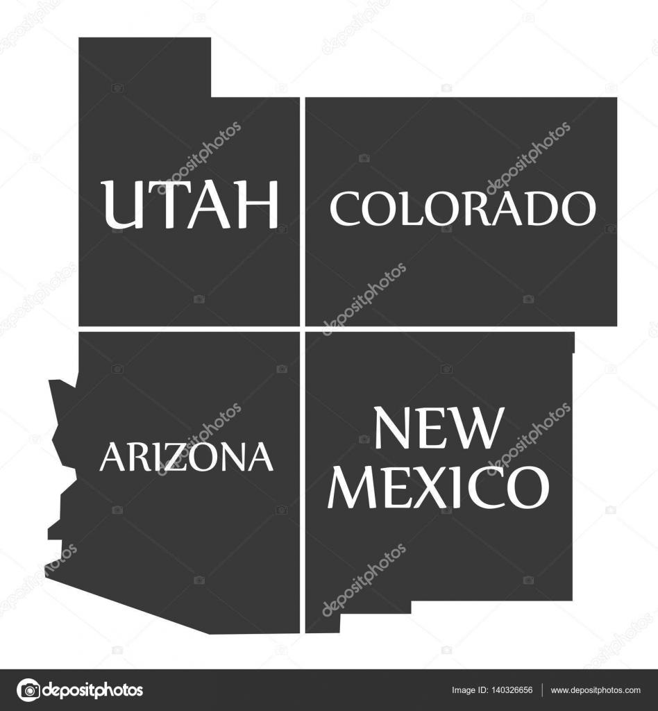 Utah - Colorado - Arizona - New Mexico Map labelled black — Stock ...