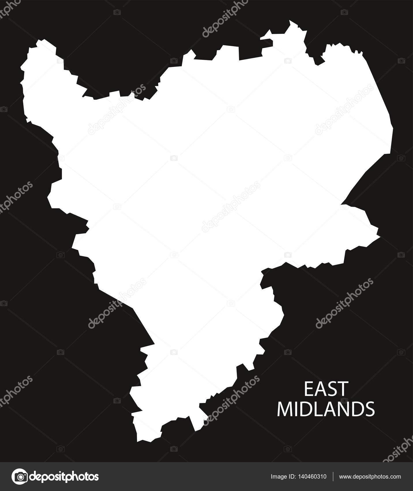 Map Of England Midlands.East Midlands England Map Black Inverted Stock Vector