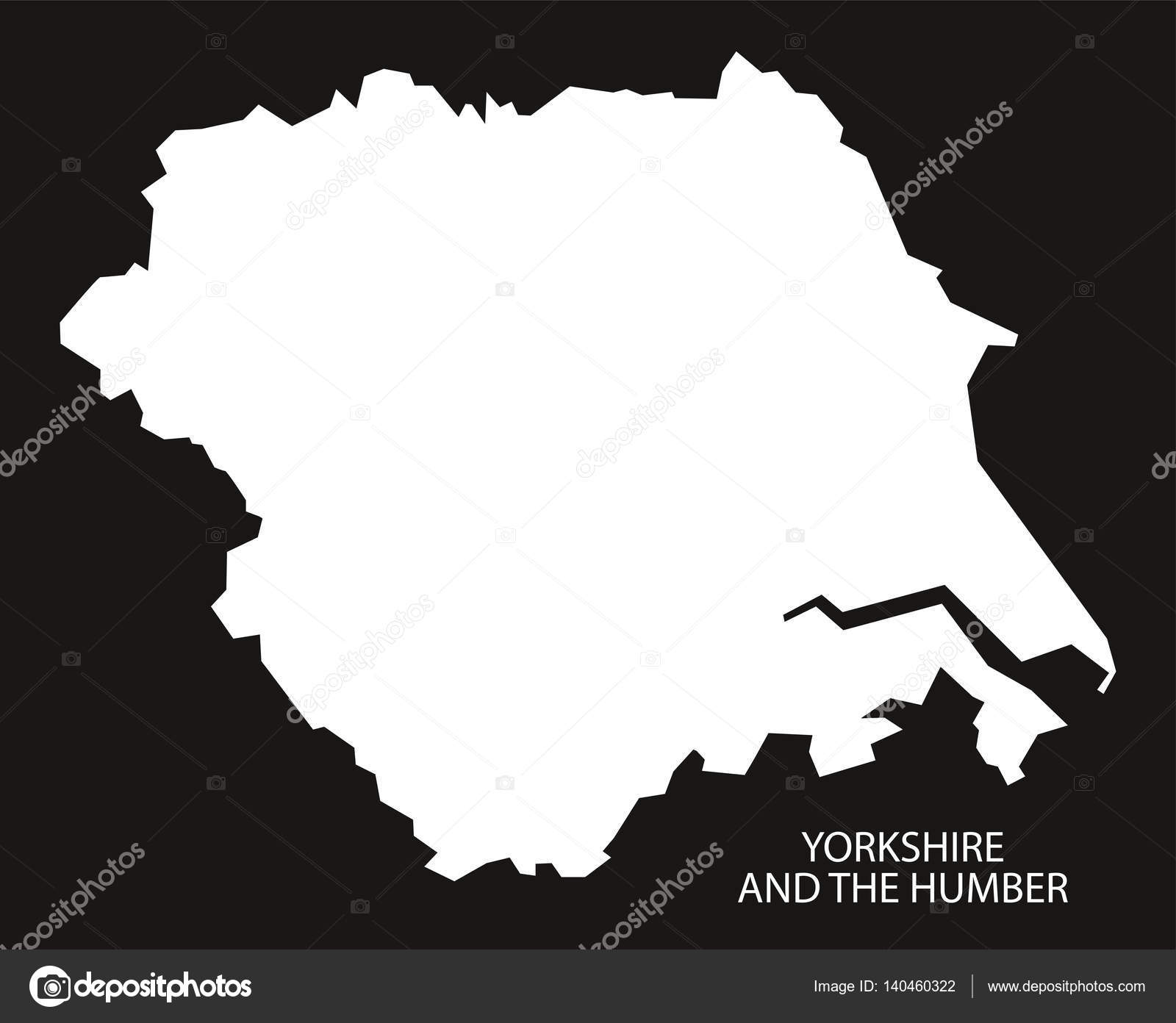 Map Of England Showing Yorkshire.Yorkshire And The Humber England Map Black Inverted Stock Vector