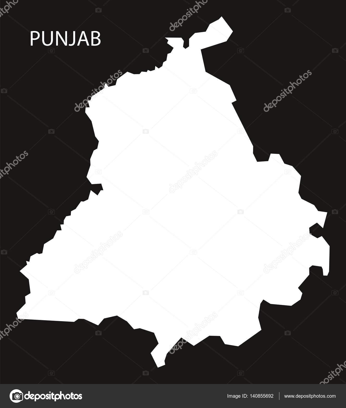 Carte Inde Punjab.Carte D Inde Punjab Noir Inverse Image Vectorielle